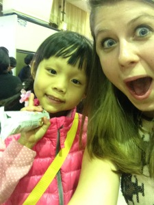 """A friend I made! She was handing out candy. Apparently she is """"Haka"""" or indigenous Taiwanese."""