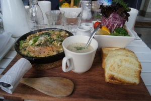 My delicious salmon scramble, toast and brocooli soup, and salad. Yes, I died of happiness.