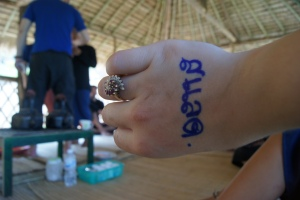 "My name in Thai. Woody wrote it on my hand, then another Elephant trainer came over and read it. He read ""slut."" Which lead to Abbey, Kristi and I laughing our faces off, mostly because he didn't know what he was saying. Later a friend of Jedrek's said it also could say ""salad."" ""Celeste"" really is hard."