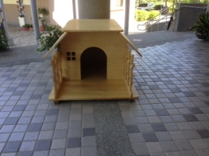 The new dog house we were given for our dog.