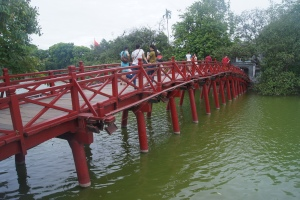Gorgeous red bridge at the lake in the middle of Old Quarter